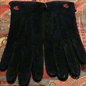 Ralph Lauren Black Suede Gloves. Sz M